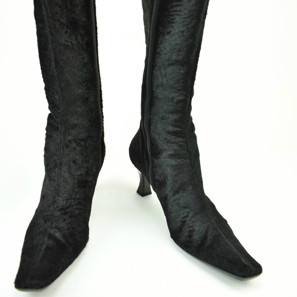 73a7c4365aa Sergio Rossi Black Calf-hair Tall Boots/Booties